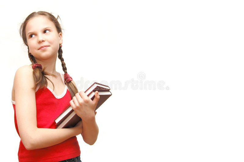 The girl in the red holds books royalty free stock photos