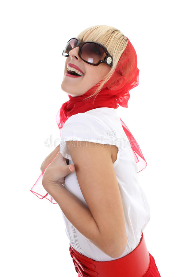 Download Girl in red laughing stock image. Image of astonished - 16097151