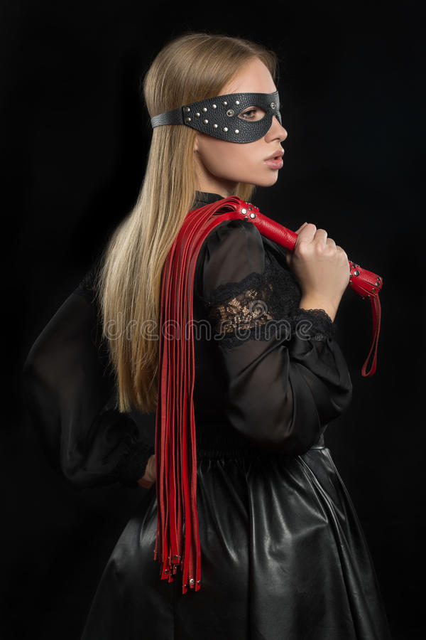 Girl With Red Leather Whip And Mask Bdsm Stock Photo - Image 61640900-9116