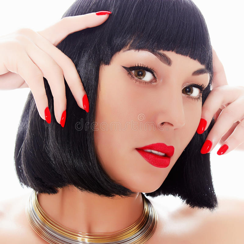 Girl With Red Lips And Red Nails Stock Photo Image Of Asian Cute