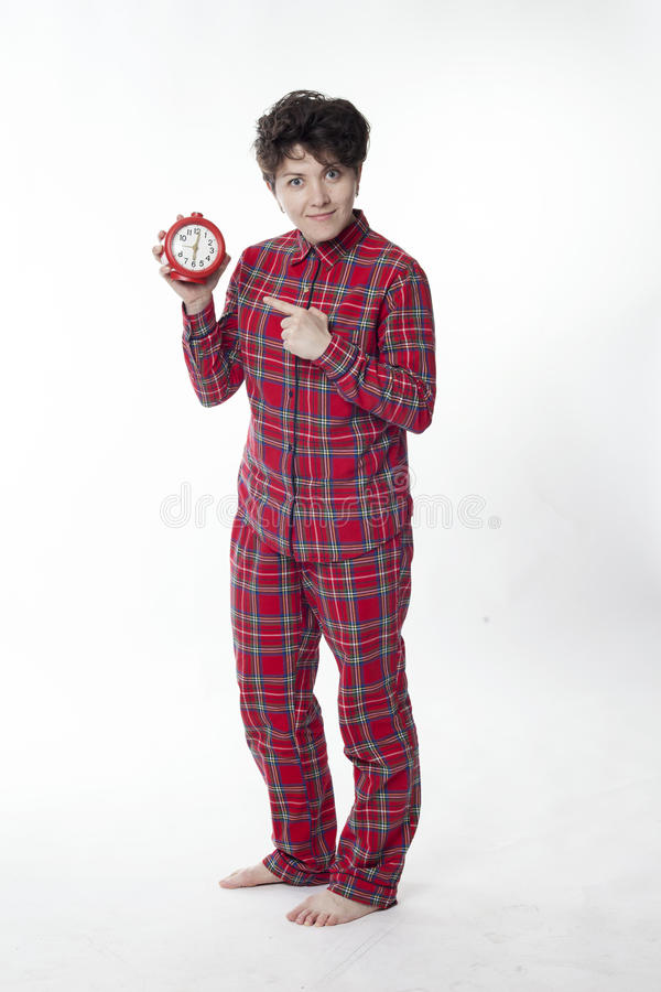 Girl in red pajamas indicates Service royalty free stock photos