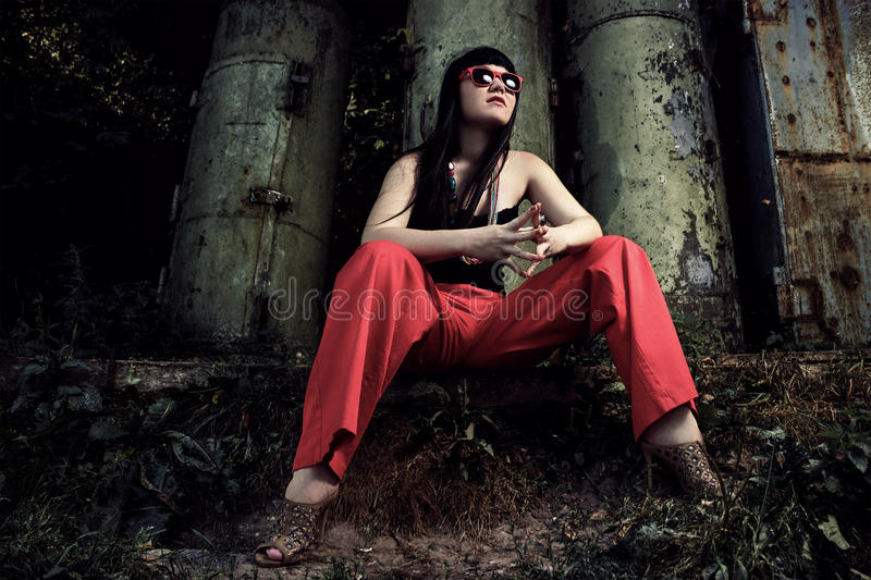 Girl In Red Pants And Sun Glasses Royalty Free Stock Images