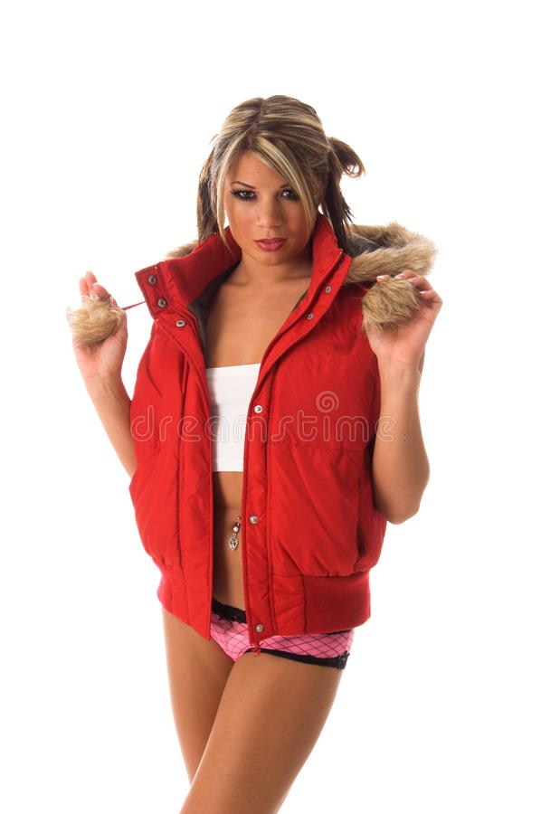 Download Girl In Red Parka stock image. Image of cold, isolated - 3001165