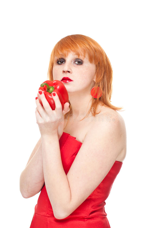 Download Girl With Red Pepper Lookin Strainght ,isolated Stock Photo - Image: 21976900