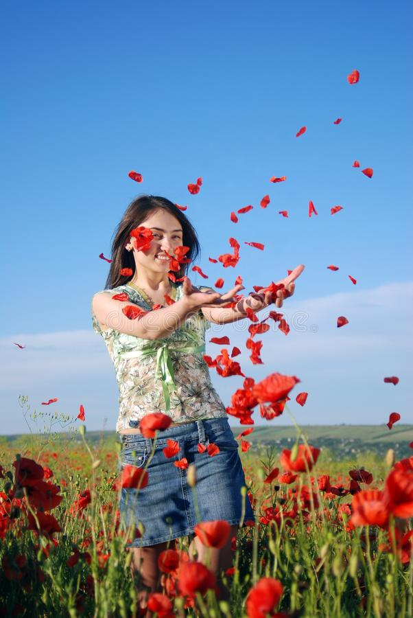 Girl on a red poppies field stock images
