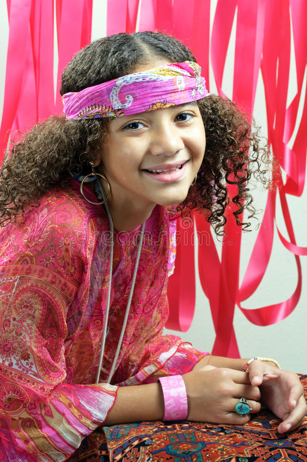 Download Girl with red ribbons stock photo. Image of teen, afro - 20947544