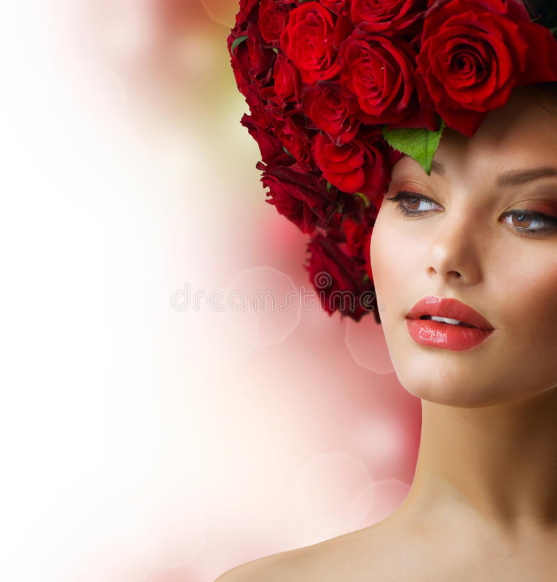 Girl with Red Roses Hairstyle stock images