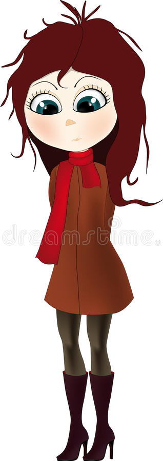 Girl and a red scarf. Anime babies vector illustration
