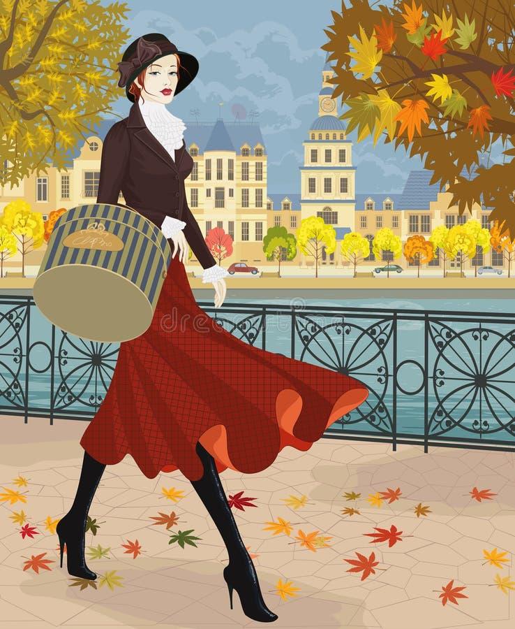 Girl in red skirt royalty free illustration
