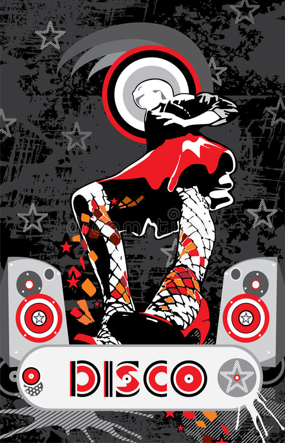 Download Girl In A Red Skirt Disco Music Stock Vector - Image: 24246562