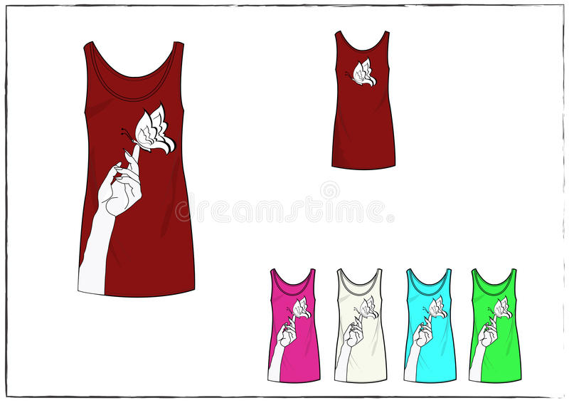 Girl Red Tank top dress with design in front and back royalty free stock images