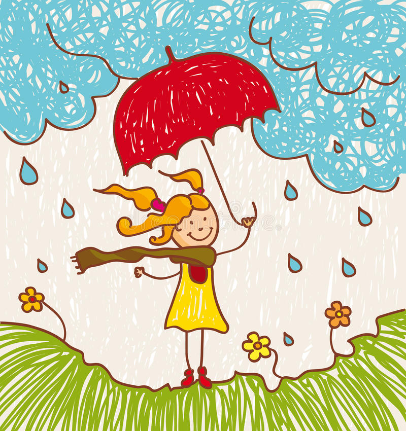 Girl with red umbrella. Illustration with a little girl with a red umbrella goes stock illustration