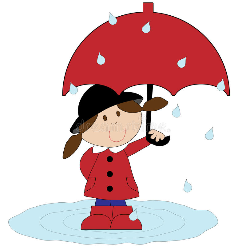 Download Girl With Red Umbrella stock illustration. Illustration of white - 24626633