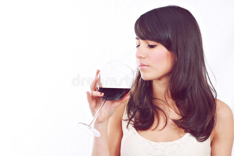 Girl with red wine glass stock images