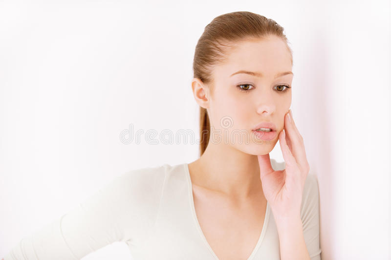 Girl reflects stock photo
