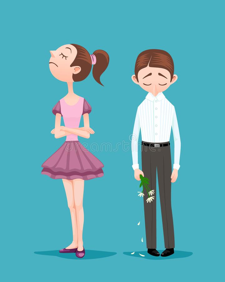 Young woman refused to go on a date with boyfriend. Upset boy standing with bowed head, holding bouquet of broken crumbled flowers. Girl refused to go on a date stock illustration