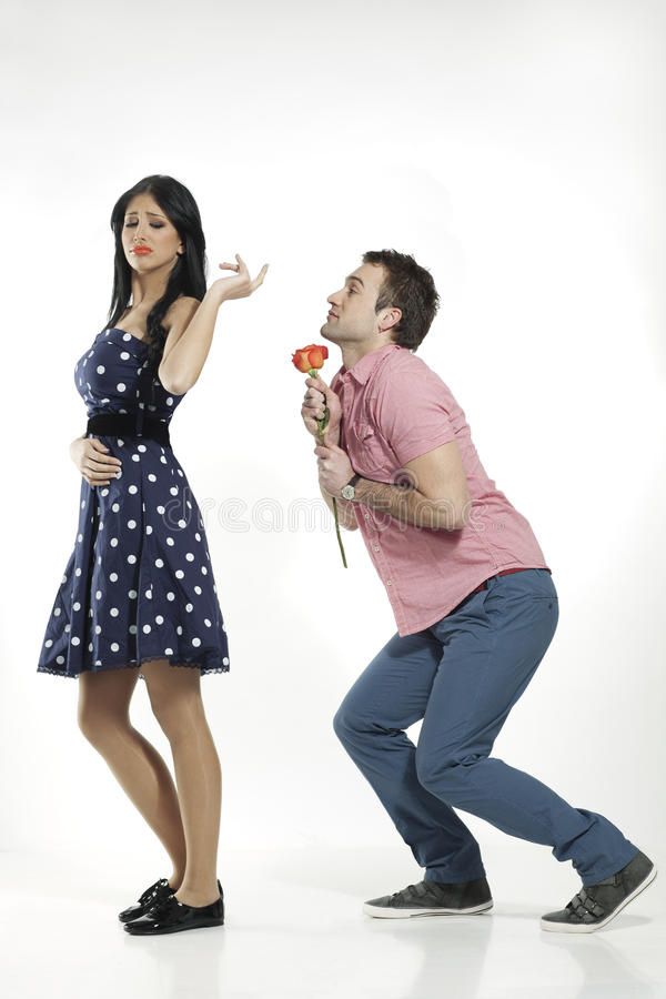 Girl refusing apologies from boyfriend stock images
