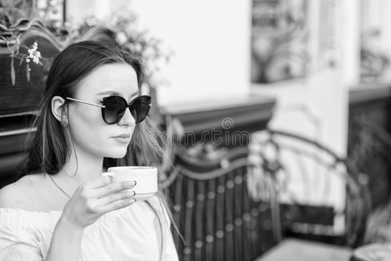 Girl relax in cafe cappuccino cup. Caffeine dose. Coffee for energetic successful day. Breakfast time in cafe. Girl stock photos