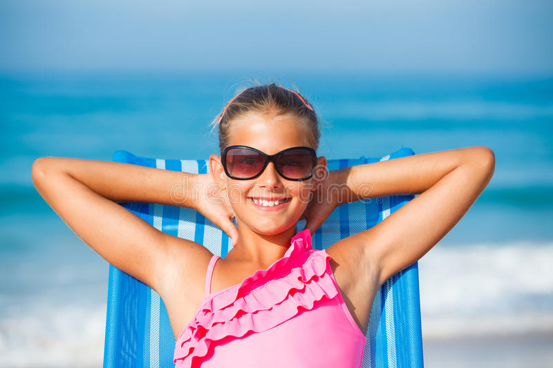 Download Girl Relaxing On Deck Chair Stock Image - Image: 36271697