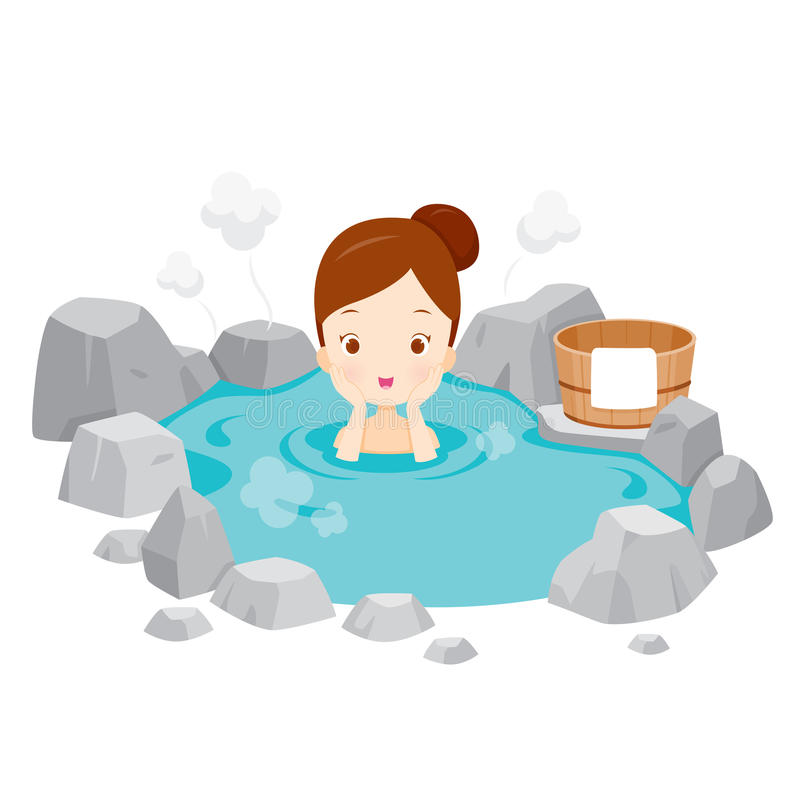 Girl Relaxing In Hot Spring. Bath Onsen Japanese Culture Healthy Season Body royalty free illustration