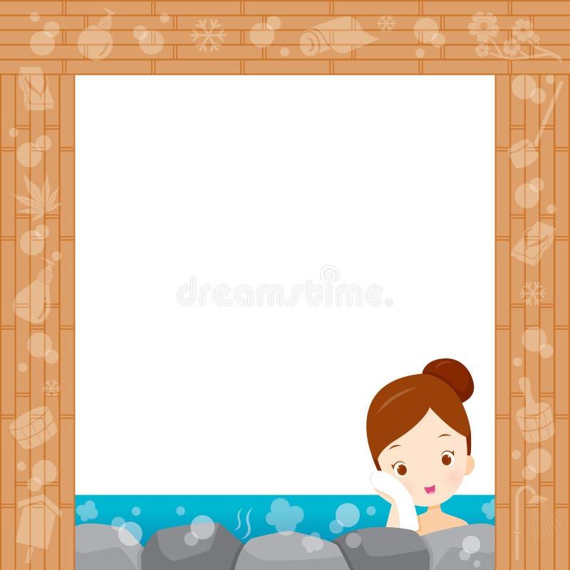 Girl Relaxing In Hot Spring Border. Bath Onsen Japanese Culture Healthy Season Body royalty free illustration