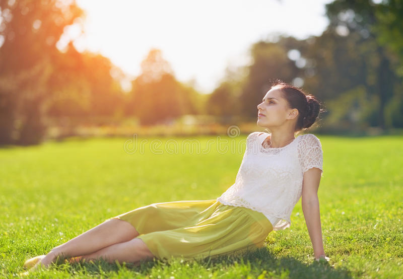 Girl Relaxing On Meadow Royalty Free Stock Photo