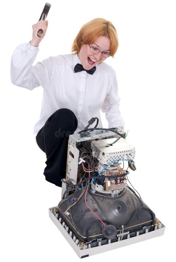 Girl repairing electronic equipment stock photography