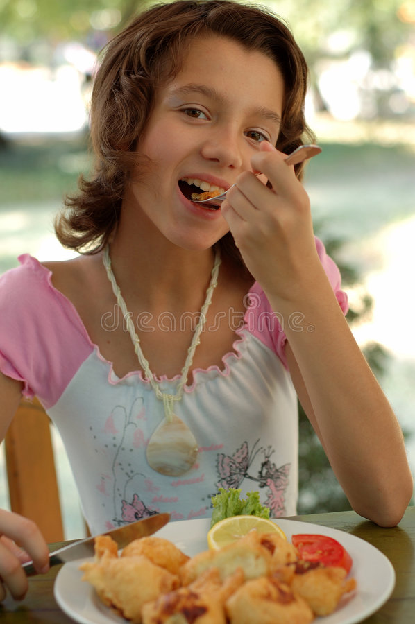 Girl In The Restaurant Royalty Free Stock Images