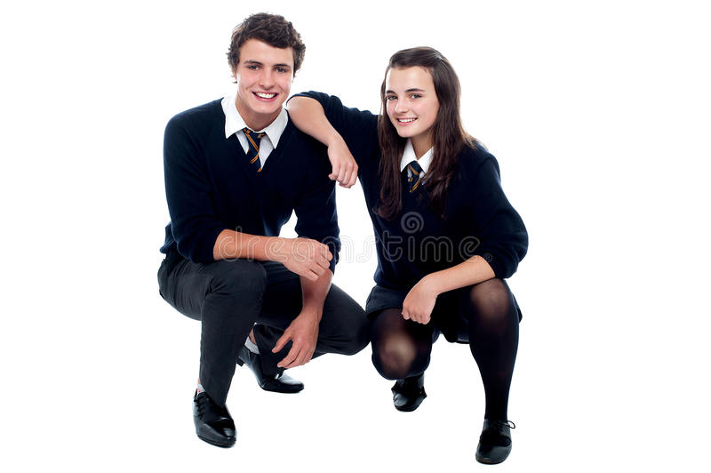 Girl resting hand on her friends shoulder royalty free stock images