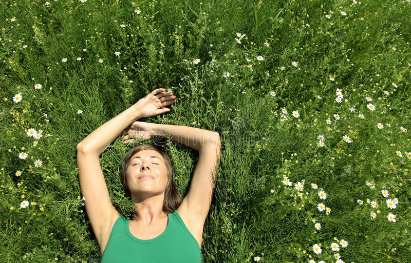 Download Girl resting in Meadow stock photo. Image of idyllic - 15005834