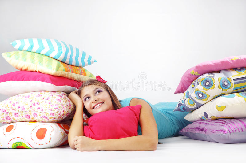 Download Girl Resting On Pillows Stock Photo - Image: 16814950