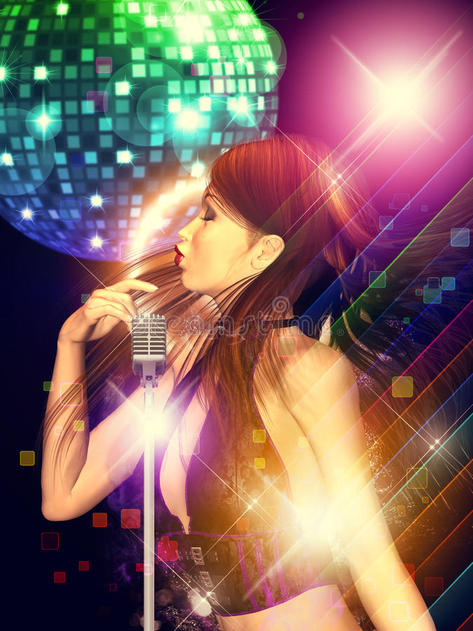 Girl with retro microphone stock images