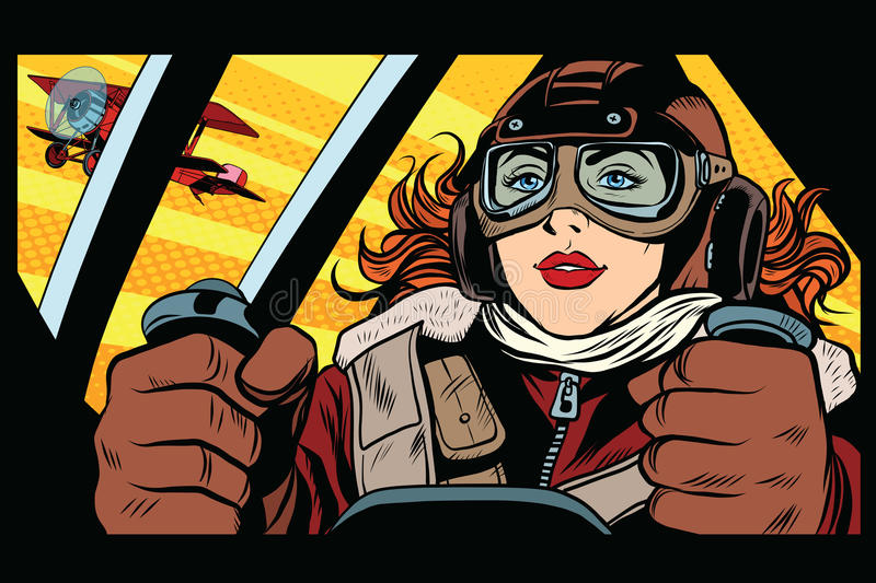 Girl retro military pilot vector illustration