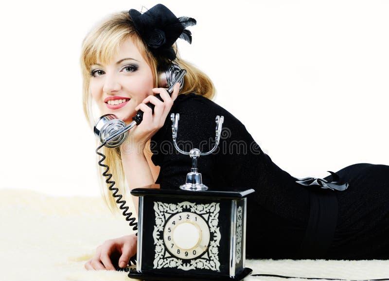 Girl With Retro Phone Royalty Free Stock Photo