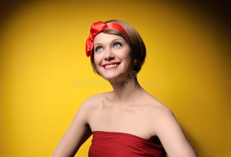 Girl in retro style royalty free stock photo