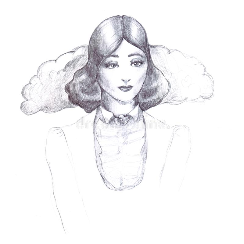 Girl retro vintage pencil sketch outline old-fashioned collar flounce jacket old hairstyle thirties on a white background line ill. Girl retro vintage pencil