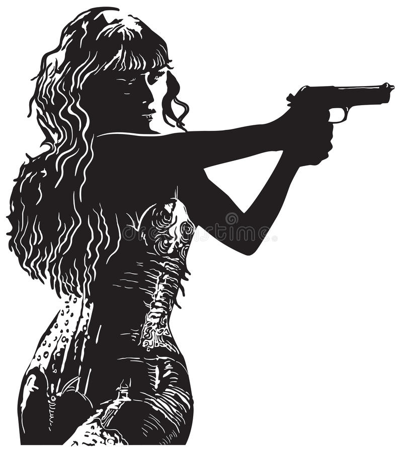 An Girl with the Revolver, Shooter - Hand drawn vector royalty free illustration