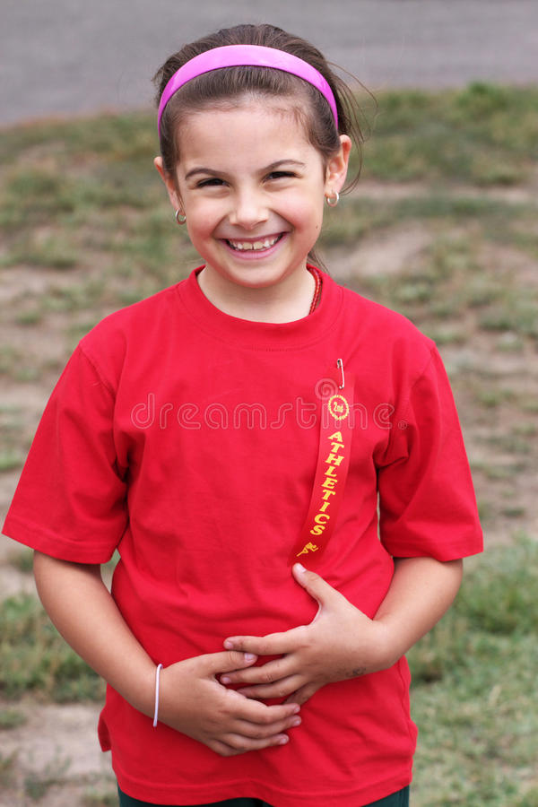 Girl with ribbon stock photography