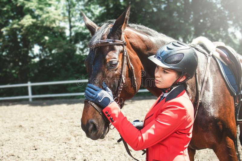 Girl rider and a horse posing in spring forest.She loves the animals and joyfully spends her time in their environment. A young girl talking and takes care of stock image