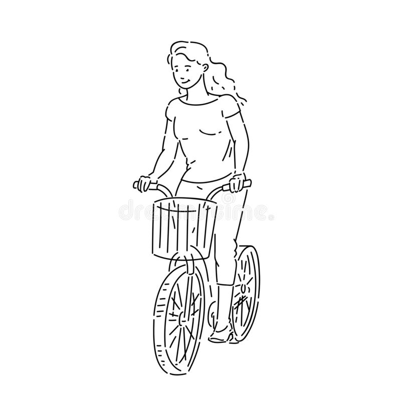 Girl rides bicycle with shopping basket in summer time line art style character vector black white isolated illustration.  royalty free illustration