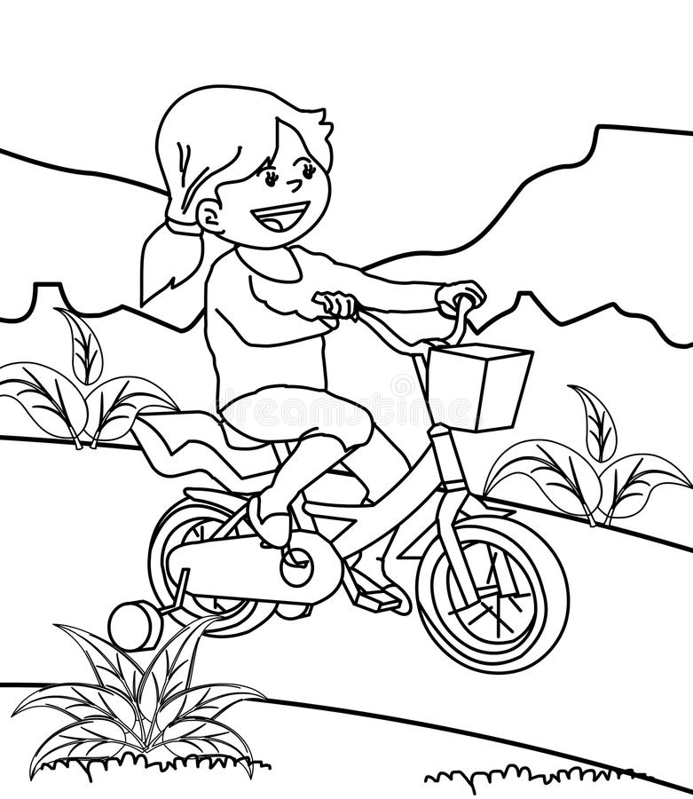 Girl riding bicycle coloring page royalty free illustration