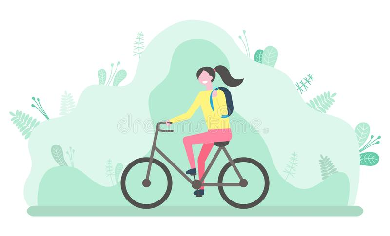 Woman Riding Bicycle, Student with Backpack Vector. Girl riding bicycle cyclist vector, nature with foliage and leaves. Lady on bike, biker with backpack student stock illustration