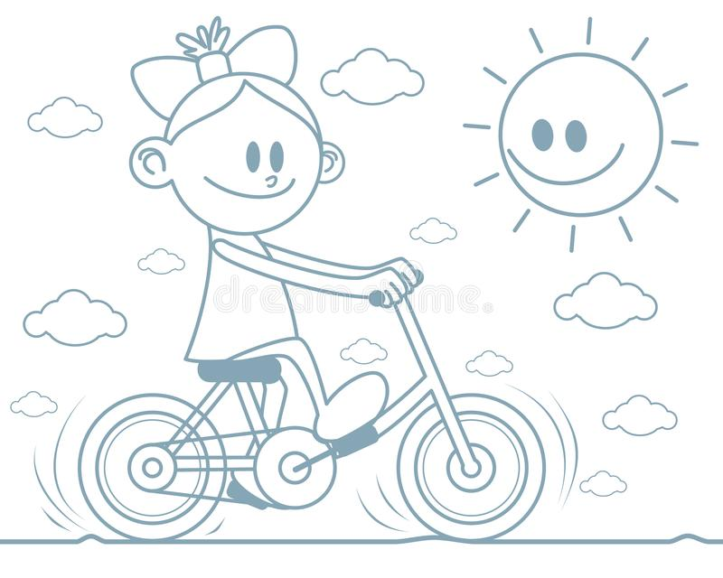 Girl riding a bicycle stock illustration