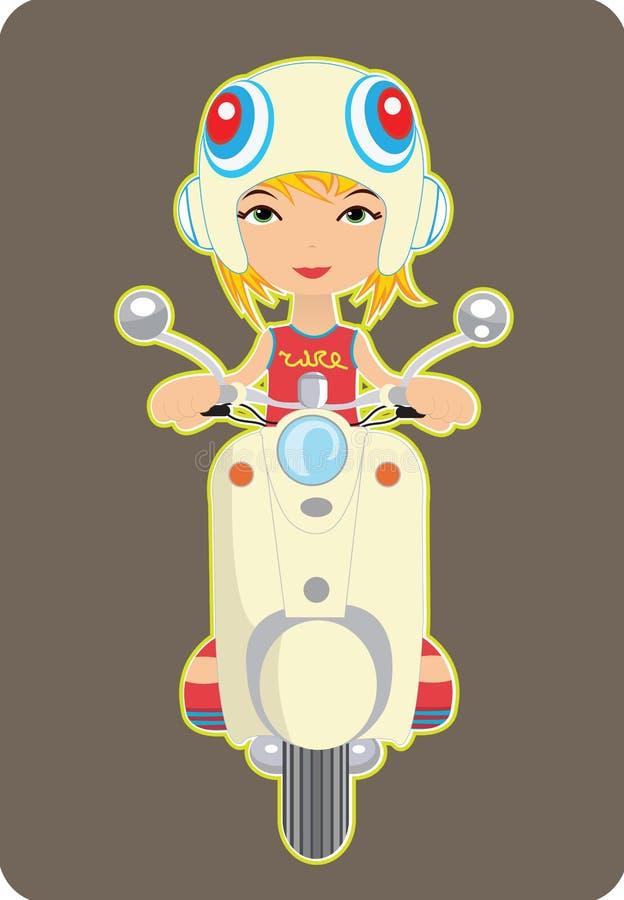 Girl riding a bike vector illustration