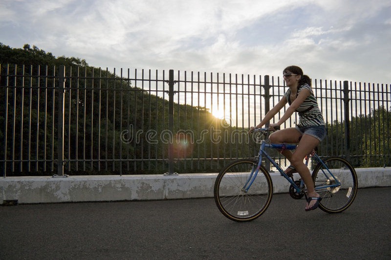 Download Girl Riding a Bike stock image. Image of girl, rest, lens - 5782095