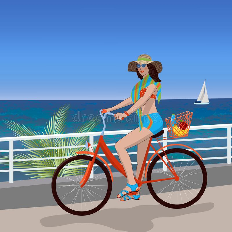 Girl riding a bike on a hot summer day. In the background are palm trees, the sea and a sailboat. Summer, vacation royalty free illustration