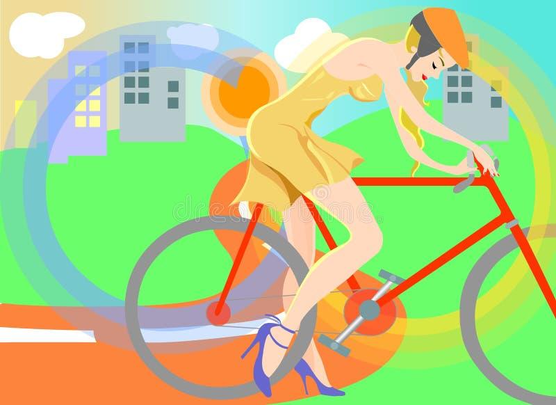 Girl Riding a City Bike stock illustration