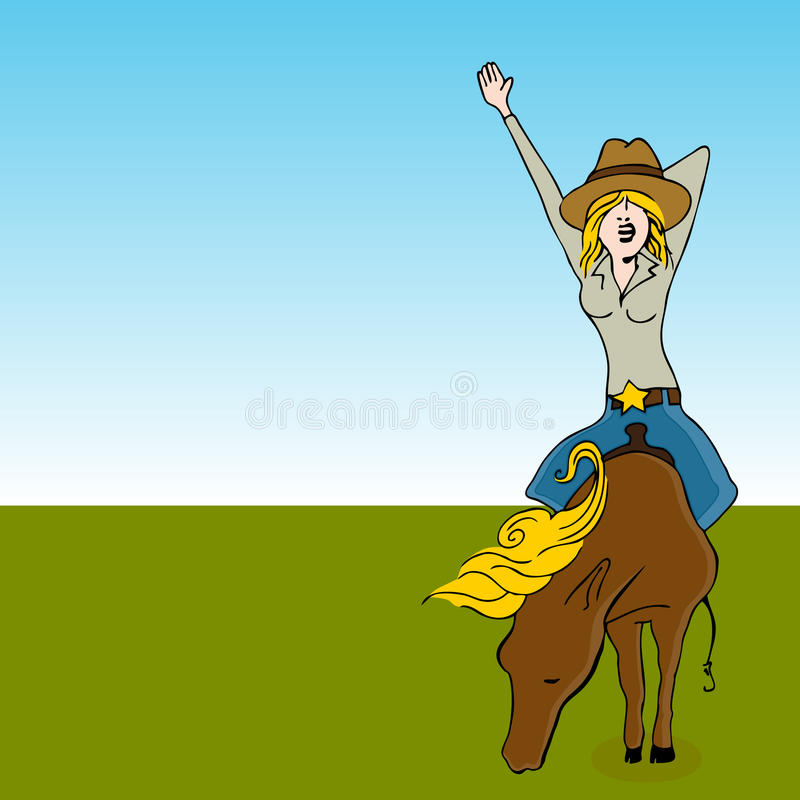 Download Girl Riding a Horse stock vector. Image of waving, color - 18472013