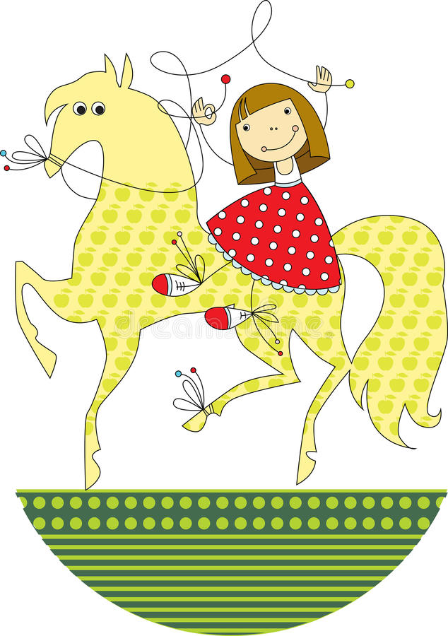 Girl riding a horse. Cheerful little girl is riding on horseback stock illustration