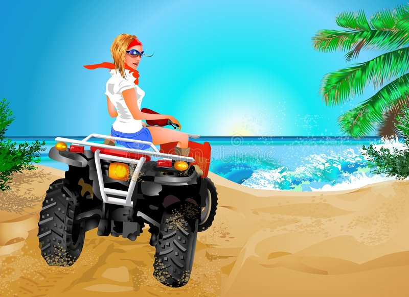 Girl riding quad in Africa stock images
